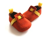 0-3 Month Size - Rust and Yellow Shoes - Baby Boys Soft Soled Shoes - Newborn Felt Booties - Wool Felt Baby Boys Booties - READY TO SHIP