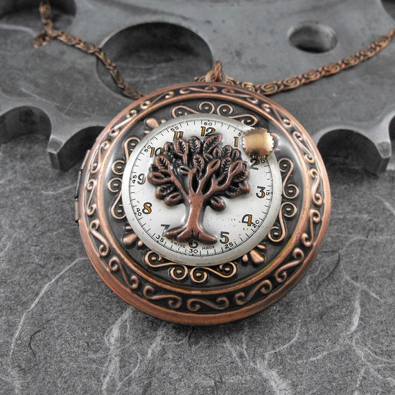 Copper Tree of Time Locket Necklace - Deluxe Tree of Time and Life by COGnitive Creations