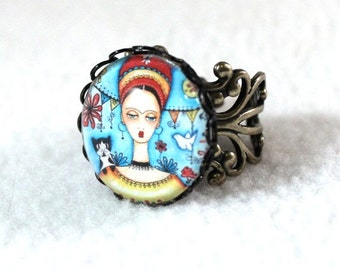 Bronze Filigree Ring, Frida Kahlo Mexican Girl Art, Antique Gold Cocktail Ring, Fashion Jewelry, Original Art Print, Blue