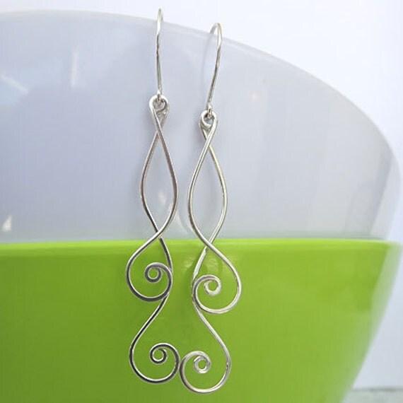 Spiral Dangle Earrings - Silver Swirl Earrings - Spiral Drop Earrings - Nautilus Sterling Silver Earrings