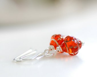Itsy Bitsy Earrings, Orange Glass Earrings, Autumn Earrings, Sterling Silver, Pumpkin Orange, Small Earrings, Dainty Earrings., Teeny Tiny