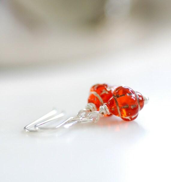 Itsy Bitsy Earrings, Orange Glass Earrings, Autumn Earrings, Sterling Silver, Pumpkin Orange, Small Earrings, Dainty Earrings., Teeny Tiny