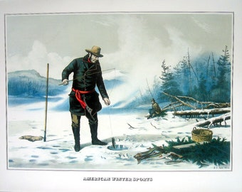 American Winter Sports - Currier and Ives - 1978 Large Vintage Book Plate