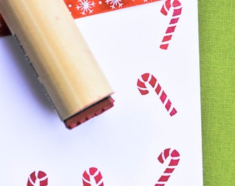 Jumbo Candy Cane Rubber Stamp