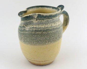 Pottery Pitcher - Marbled Green & Yellow - 28 oz (3 1/2 cups) / handmade wheel thrown pottery
