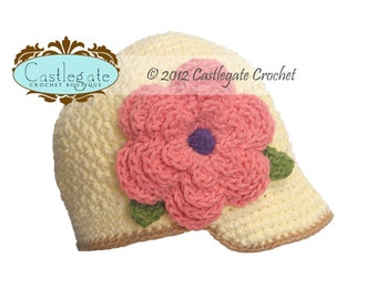Newsgirl Beanie with Flower - Ivory, Jute, Country Pink, Grape, Sage Green