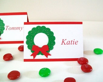 Christmas Place Cards - Personalized Holiday Place Cards - Christmas Dinner Place Cards - Personalized Name Cards Glitter Wreath