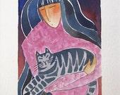 Gray Tabby & Cat Lady Art/ Original Watercolor Painting by Susan Faye