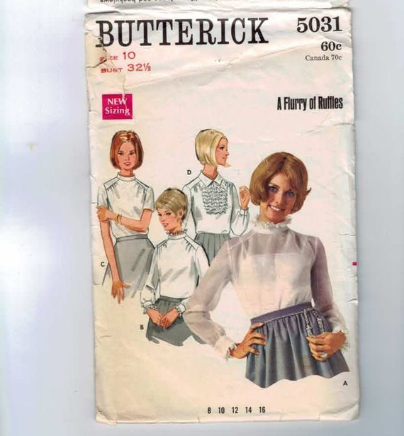 1960s Vintage Sewing Pattern Butterick 5031 Ruffled Mod Romantic Blouse Size 10 Bust 32 1/2  60s