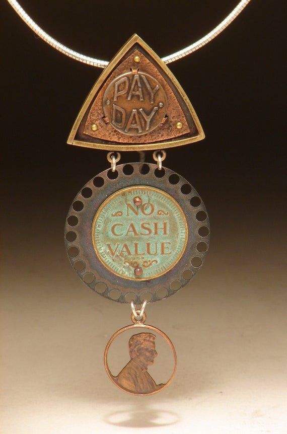 Bronze, Mixed Metals, Found Objects Pendant