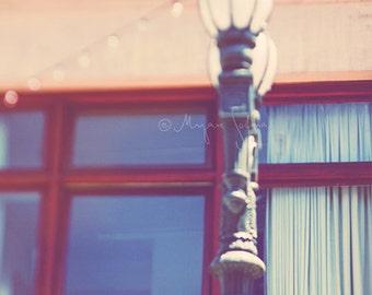 LA photography, urban home decor, red, romantic iron lamp post, Gallery Row, downtown Los Angeles, city wall art, loft decor, bokeh lights