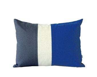 Cobalt Blue Colorblock Pillow Cover - Modern Home Decor by JillianReneDecor Color Block Stripe Trio, Indigo, Snorkel Blue