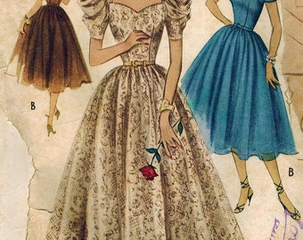 1950s McCall's 9014 Vintage Sewing Pattern Misses Formal Dress Size 16 Bust 34