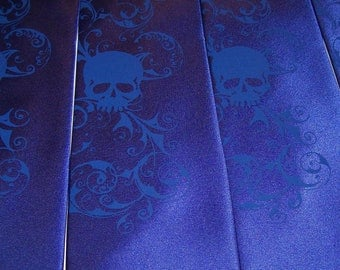 Mens necktie - something blue, royal blue skull tie