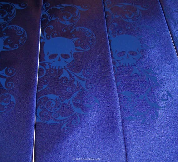 Wedding necktie, something blue distressed skull tie by RokGear
