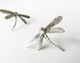 Sterling silver Dragonfly earrings-Insect stud earrings-Dragonfly jewelry- Animal earrings-Anniversary gift