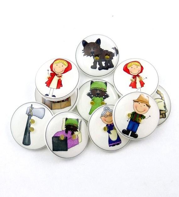 Red Riding Hood Buttons.  10 Handmade Buttons. Children's Sewing Buttons.