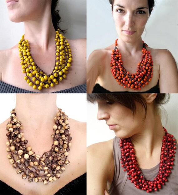 Statement Necklace, Cluster Acai necklace, Beadwork necklace, Adjustable, Ecofriendly bead necklace
