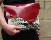 Sale CLUTCH Purse Handbag Hand Dyed Red Leather and Artists Canvas Clutch
