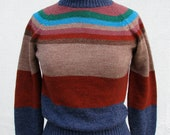 RESERVED for Reese........1970s Autumnal Color Stripes Turtleneck Sweater
