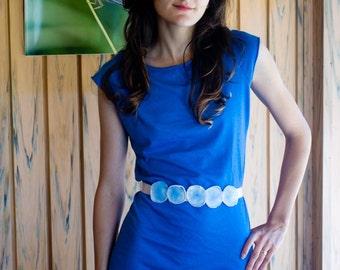 Floral Waist Belt, Bridal Belt, Bridesmaid Belt, Ready to Ship, Something Blue, Ribbon Belt, One of a kind, OOAK, Fabric Belt, Fabric Flower