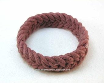 rust red herringbone rope bracelet turks head knot sailor bracelet nautical bracelet rope jewelry soft bangle bracelet  3078