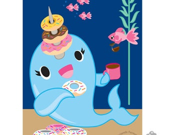 SALE Narwhal & Donuts Art Print 8 1/2 x 11