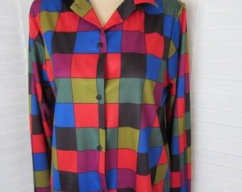 Shirt, Blouse with Color Blocks - Size M-L