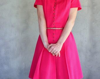 SALE 60's Dress Magenta knee Length Pleated Skirt and Brass Buttons Medium