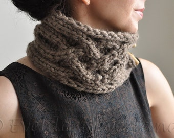 Hand Knit UNISEX Chunky Cable Scarf Knitted Neckwarmer Collar Neckwear with wooden toggles - Celtic Connection in taupe or CHOOSE Your COLOR