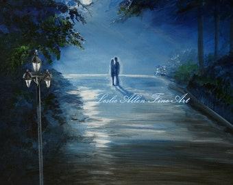 """Couple Art Print Boyfriend Girlfriend Husband Wife Wall Art In Love Hugging Romantic Romance """"In The Loving Moonlight"""" Leslie Allen Fine Art"""