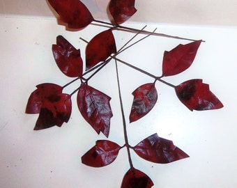 Vintage Millinery Flower POISON IVY Craft Leaves Brick Red Black Spots Small