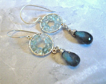 Pinwheel Design- Silver Earrings, Labradorite, Aquamarine, Wire Wrapped