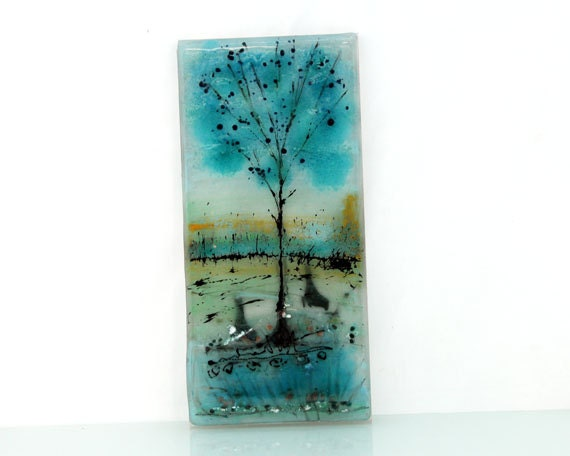 Wall Art Fused Glass : Wall art painting fused glass blue landscape