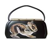Sale - Sumatran Striped Rabbit purse - one of a kind, handpainted by NYhop - vintage black vinyl 1950's painted handbag - vegan