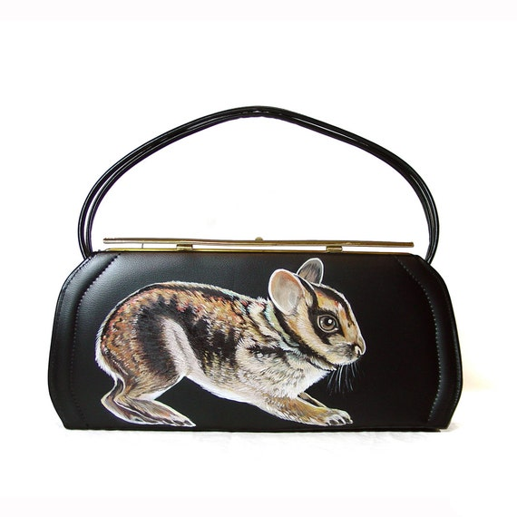 Sale - Sumatran Striped Rabbit purse - one of a kind, handpainted by NYhop - vintage black vinyl 1950's painted handbag - vegan