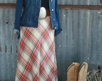 1970s Vintage Plaid Skirt - Wool Blend Plaid Skirt by Century of Boston - Boho Skirt - Bohemian - Trending Plaid - 1970's Maxi Skirt
