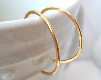"Tiny Gold Hoop Earrings, reverse hoop earrings, 14k Gold-Filled, simple classic minimalist, 1/2"" inch hoops"