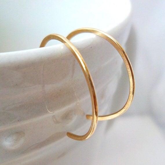"""Tiny Gold Hoop Earrings, reverse hoop earrings, 14k Gold-Filled, simple classic minimalist, 1/2"""" inch hoops"""