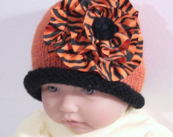 Custom handmade  knit Tiger baby  hat cap beanie -0-12M -Cute baby gift-Photo prop