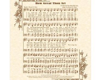 HOW GREAT THOU Art - Hymn Art - Custom Christian Home Decor - VintageVerses Sheet Music - Inspirational Wall Art - Sepia - Natural Parchment