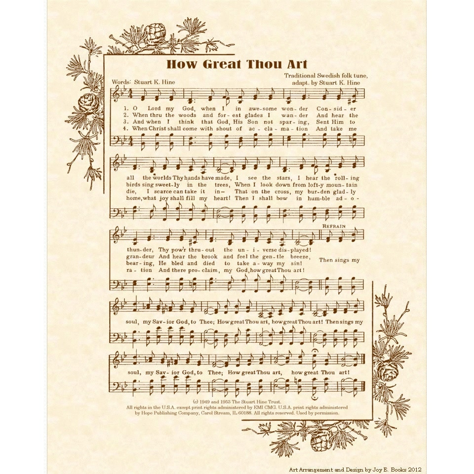 How great thou art hymn art custom christian home decor for Vintage house music