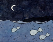 Illustration Whales and moon print 8x10
