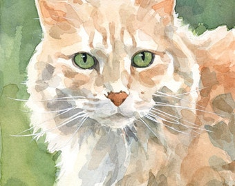 Cat Portrait Custom Watercolor Painting 5x7