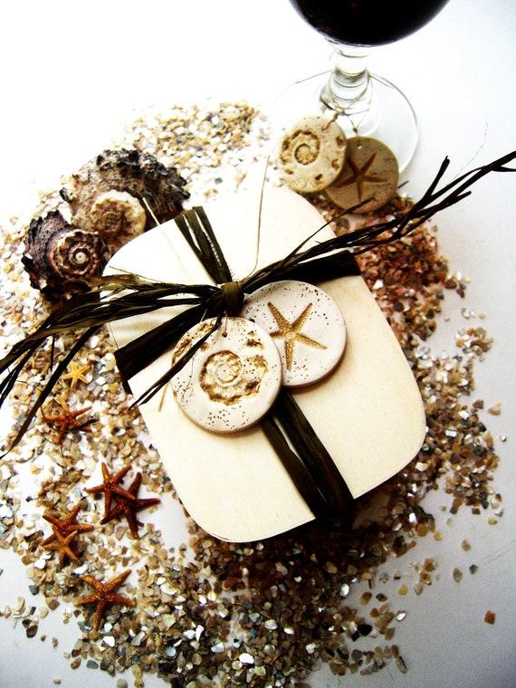 Wedding Favor Charms Tags : Beach Wedding Favor Tags Wine Charms Seashell Starfish Wedding Favors ...