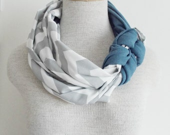 Half Braided Knot Scarf - Grey and White Chevron and Stone Washed Blue Jean
