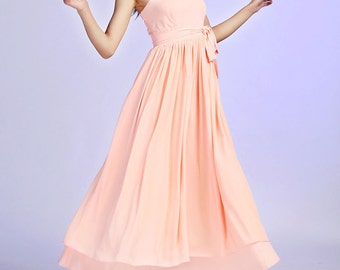 Wedding dress maxi dress long dress peach dress (625)