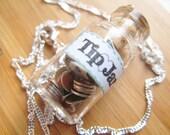 Tip Jar Necklace  - Money Jar - Green Label - Sterling Silver Chain
