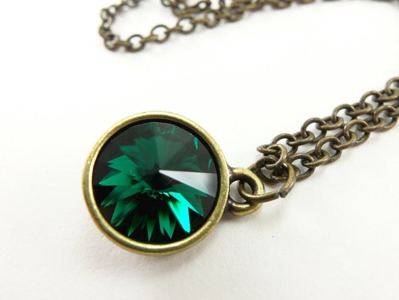 Emerald Green Crystal Necklace Antiqued Brass Jewelry Rivoli Necklace Modern Necklace May Birthday Jewelry