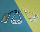 Triangle tribal inspired dangle sterling silver earrings